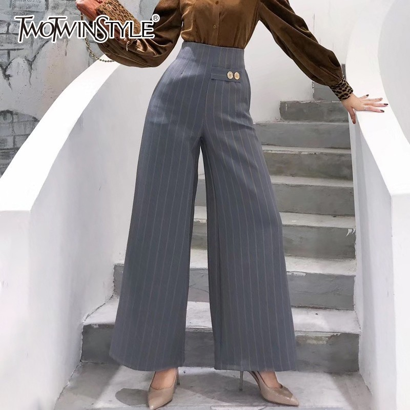 TWOTWINSTYLE Casual Striped Wide Leg Pants Female High Waist Zipper Trousers For Women Autumn 2018 Korean Fashion Large Sizes
