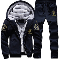 Youth Mens Fashion Casual Tracksuit New Brand Warm Two Piece Men Sets All Cotton Fleece Sets Male Thick Hooded Jacket + Pants