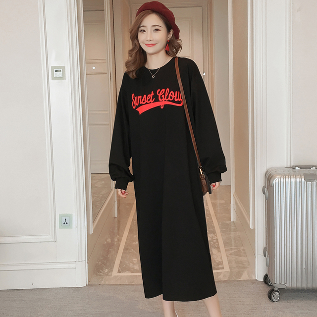 #4950 Spring Autumn Long Sleeve Black T Shirt Dress Women Cotton Round Neck Straight Personality Large Size Casual Dress Female