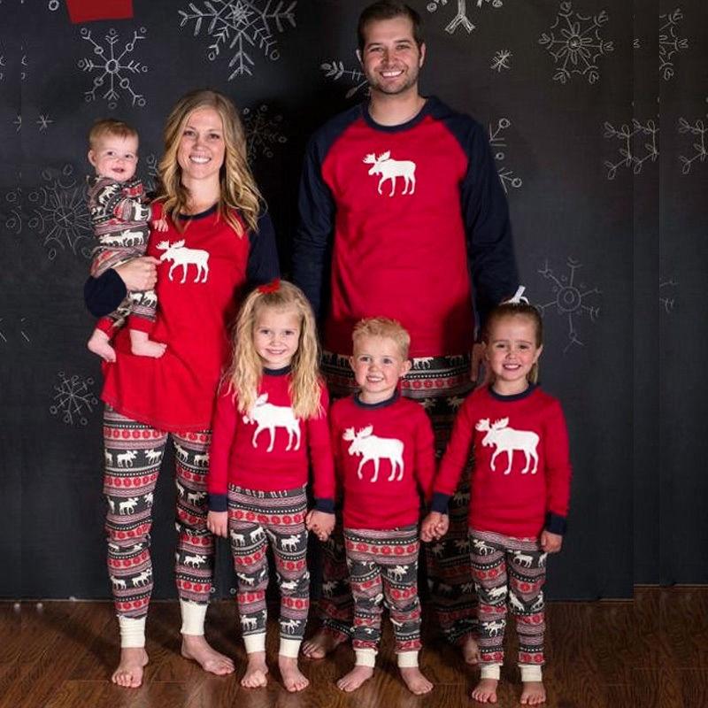 2019 Christmas Family Women Pajamas Sets Deer Snow Printed Long Sleeve Tops Trousers Sleepwear Nightwear Outfits Xmas Elk Suit