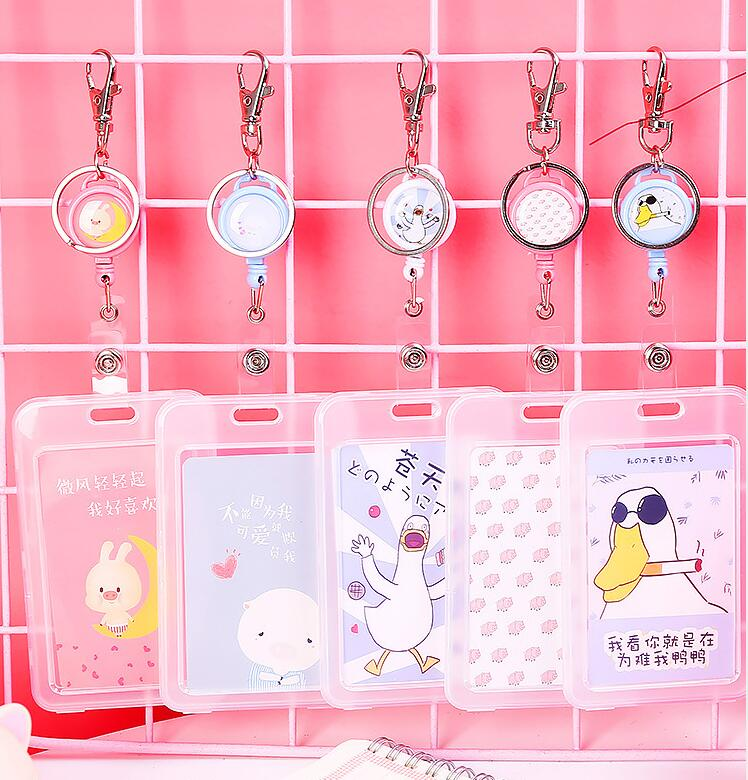 Transparent Card Holder Cute Animal Key Ring Bank Card ID Bus Card Holders Stationery Gift Badge Holder