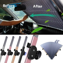 70*155CM Car Retractable Windshield Sun Shade Block Sunshade Cover Front/Rear Window Foil Curtain for Solar UV Protect Sunshades
