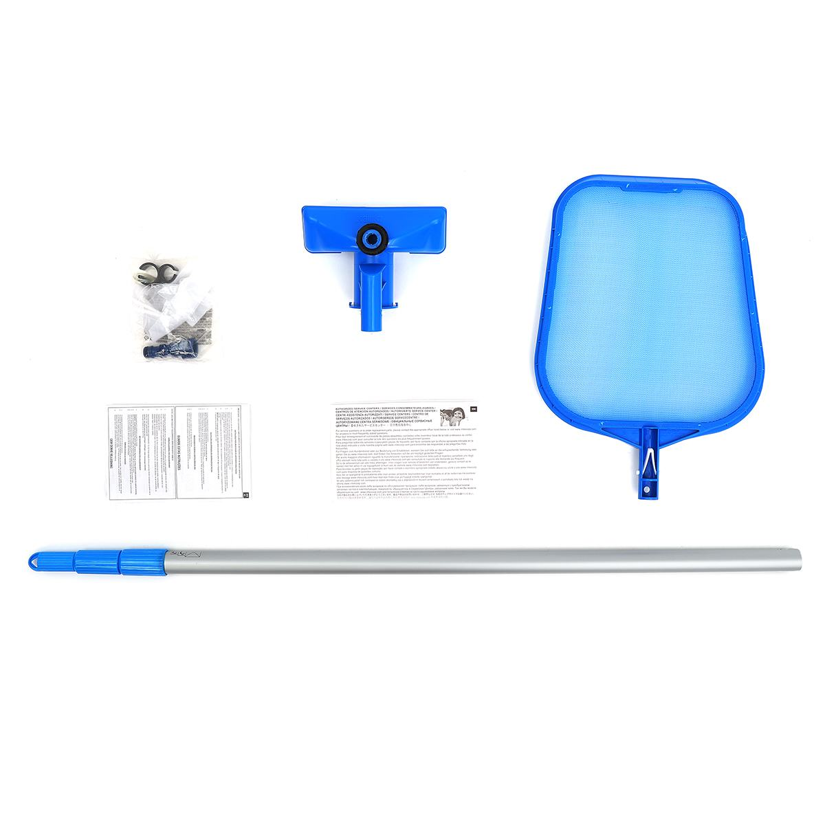 1 set Piscine Cleaner Kit Entretien À Vide Brosse Pôle Net Aspirateur Aspiration Tête Piscine De Nettoyage Accessoires