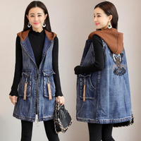 #3320 Spring Autumn Sleeveless Jacket Women With Hooded Embroidery Long Denim Vest Women Cowboy Loose Vintage Waistcoat