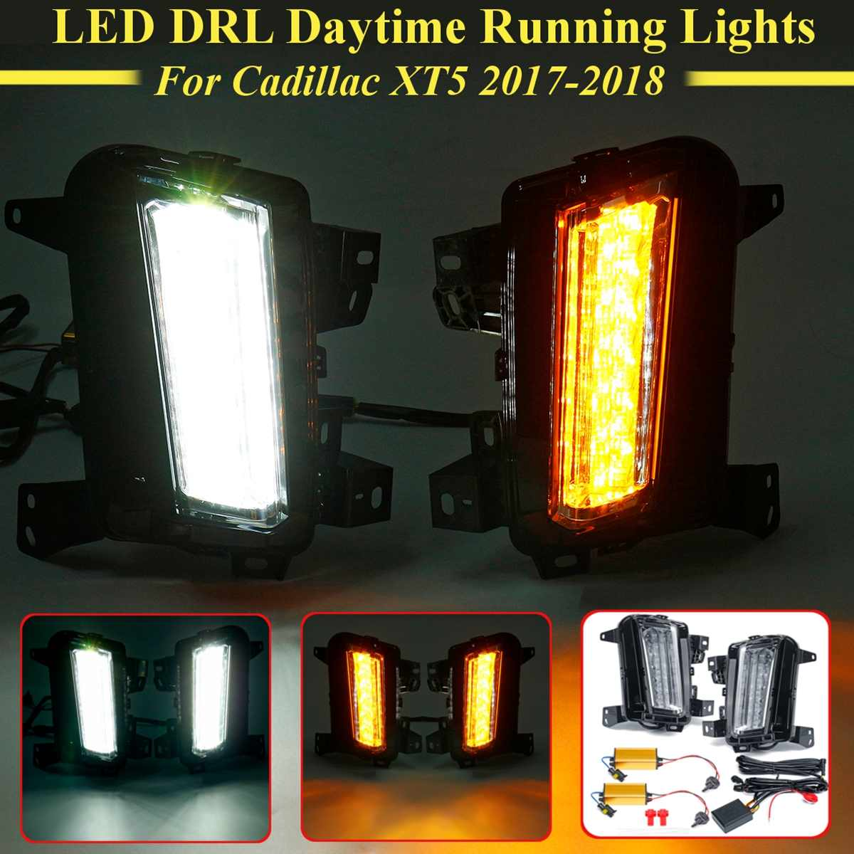 For Cadillac XT5 2017 2018 1 Pair Led Front Bumper DRL Daytime Running Light Car Lamp Turn Signal Yellow White DIY Styling