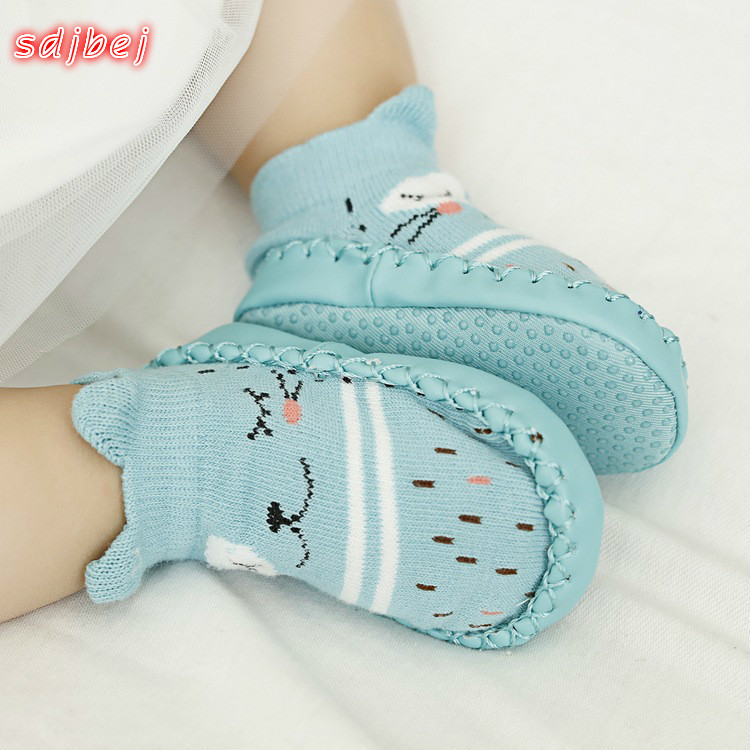 Toddler Baby Shoes Infant First Walker Infant Cartoon Socks Kids Indoor Floor Socks Non-Slip Baby Socks Moccasins Slippers
