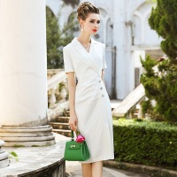 NEW luxury Spring summer office work dress 2018 Career Women Clothing Short sleeve Slim Party Dress S 3xl Striped Pencil dresses
