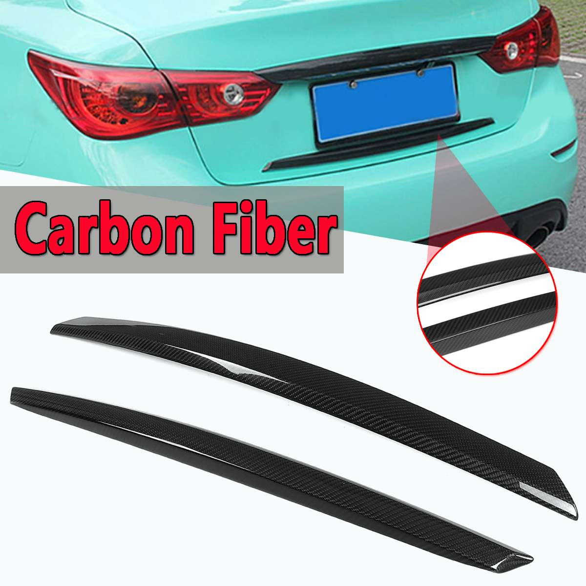 Rear Trunk Plate Trim Cover 2 Pcs For Infiniti Q50 2014-2017 S Real Carbon Fiber Rear Car-Styling Sticker Trunk Wing Trim CoversRear Trunk Plate Trim Cover 2 Pcs For Infiniti Q50 2014-2017 S Real Carbon Fiber Rear Car-Styling Sticker Trunk Wing Trim Covers
