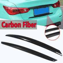Rear Trunk Plate Trim Cover 2 Pcs For Infiniti Q50 2014-2017 S Real Carbon Fiber Rear Car-Styling Sticker Trunk Wing Trim Covers