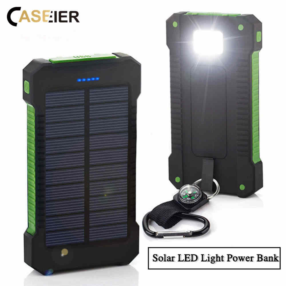 Caseier 8000 MAh Powerbank Solar Waterproof Power Bank Lampu LED Powerbank 2 USB Kemasan Baterai Eksternal Portable Wireless Charger