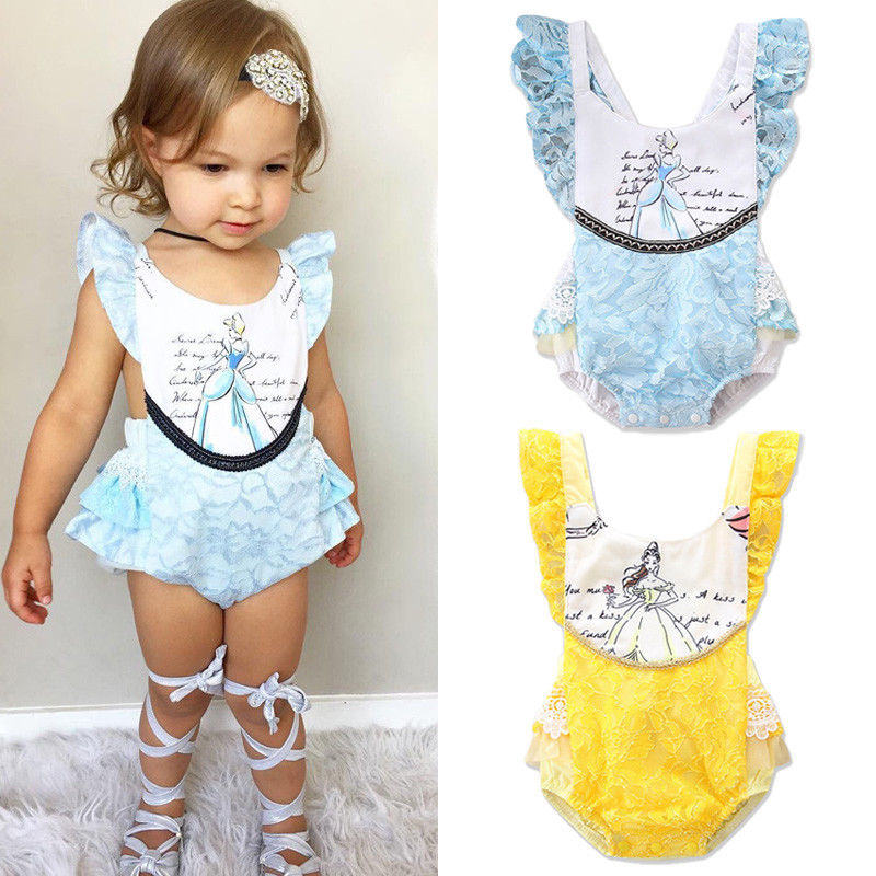 Princess Newborn Baby Girl Cartoon Lace   Romper   Ruffles Sleeveless Backless Beauty One Pieces Sunsuit Clothes 0-24M