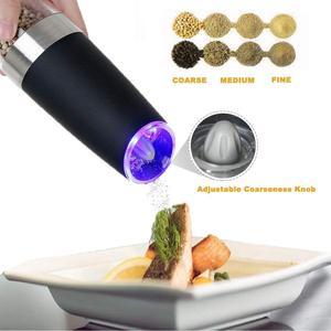 Image 4 - ALIM Горячая Премиум гравитационная электрическая мельница для соли и перца, набор из 2 аккумуляторов, солонка, автоматическая, одна рука, перец Mil