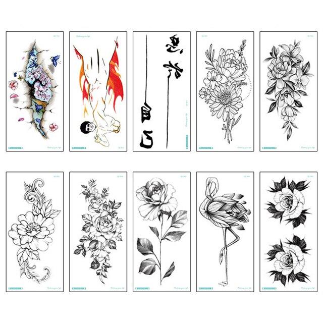 Fashion Colorful Flowers Tattoo Women New Waterproof Temporary Black Tattoo Sticker Body Art 3
