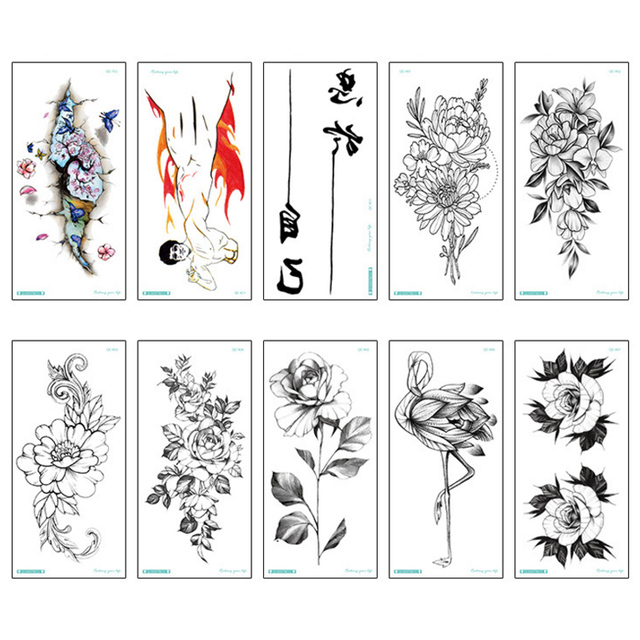 Fashion Colorful Flowers Tattoo Women New Waterproof Temporary Black Tattoos Sticker Body Art
