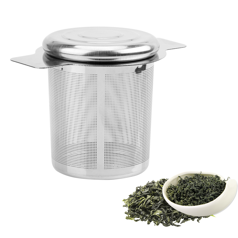 Lid Tea And Coffee Filters Fine Mesh Tea Strainer  Reusable  Stainless Steel Tea Infusers Basket  With 2 Handles