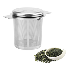 Lid Tea and Coffee Filters Fine Mesh Strainer  Reusable Stainless Steel Infusers Basket with 2 Handles