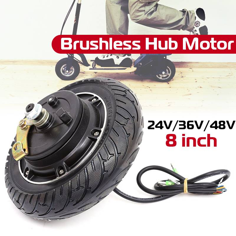 8 Inch 350W Electric Scooter Hub Wheel Motor 24V 36V 48V Brushless Motor Scooter Motor For E-Scooter Wheel Bicycle Motor Wheel