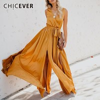 CHICEVER 2019 Spring Summer Women's Dress V Neck Sleeveless High Waist Bow Lace Up Split Dresses Fashion Clothes New