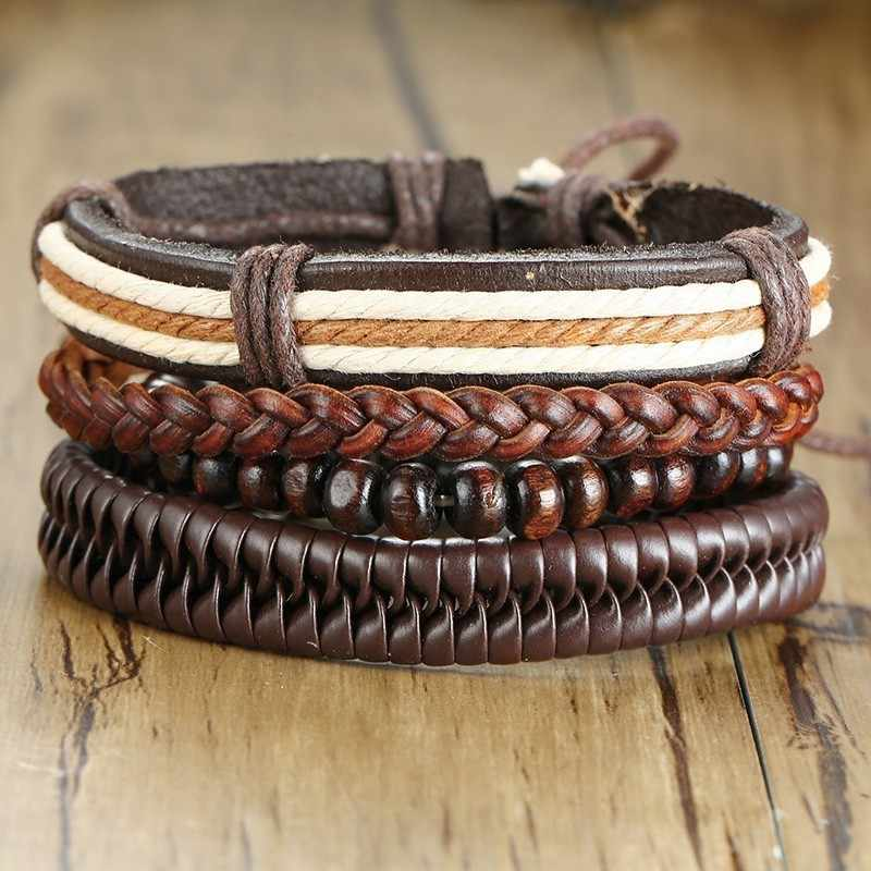 Casual Men Leather Bracelet Wood Beads Hand Braided Multi Layer Adjustable Wrap Wrist Male Accessories