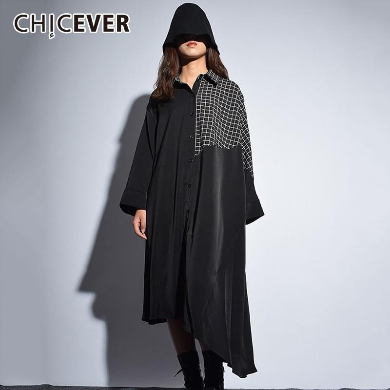 CHICEVER Patchwork Plaid Dress For Women Lapel Long Sleeve Asymmetric Hem Loose Oversize Dresses Female Fashion