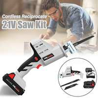 Portable Cordless Reciprocating Saw 21V Electric Saw Blades Wood Metal Chain Saws Woodworking Cutting Power Tool Set US Plug