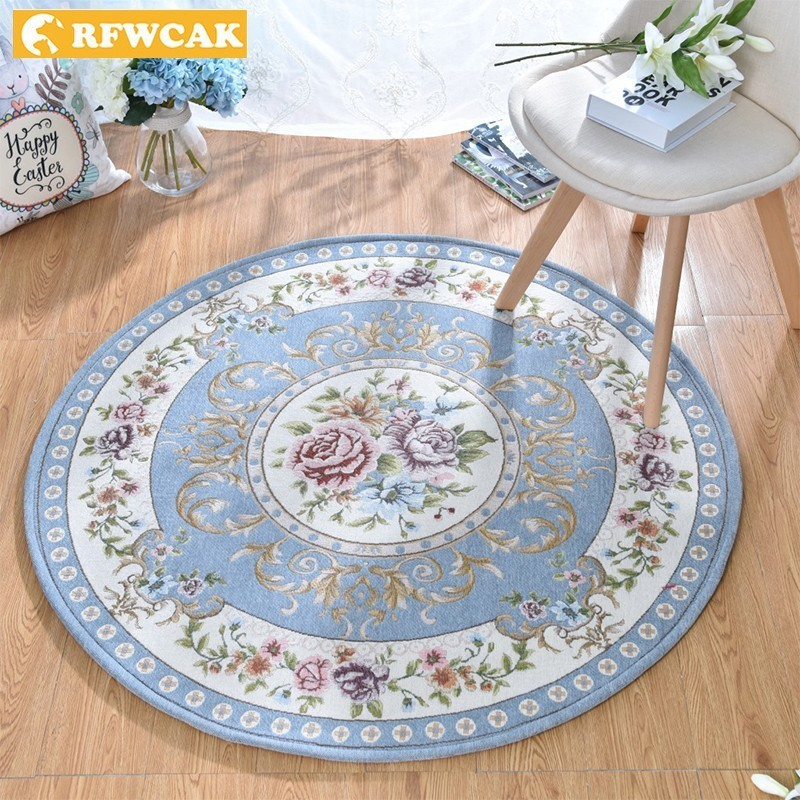 RFWCAK Europe Dornier Jacquard Round Carpets For Living Room Bedroom Mat Hanging Chair Cushion Carpet Home Kids Room Rug Tapete
