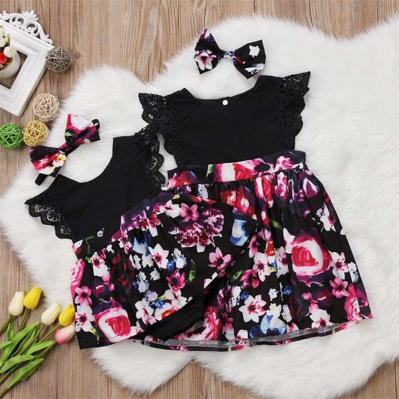 Newborn Fashion Cute Toddler Infant Kids Baby Girls Clothes Sister Matching Floral Print Jumpsuit Bodysuit Dress Outfit Set 0-6T