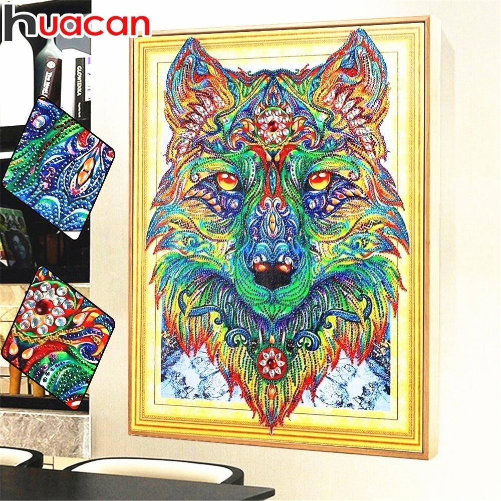 HUACAN Speciale a Forma di Lupo Pittura Diamante Diamante Ricamo Animale Pattern A Mosaico di Strass Immagine Ago Arti 40x50 cm