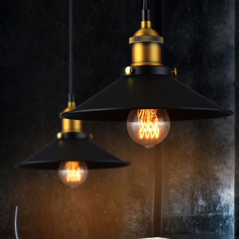 E27 220V Black Vintage Industrial Pendant Light Nordic Retro Lights Iron Lampshade Loft Lamp Metal Cage Dining Room Countryside