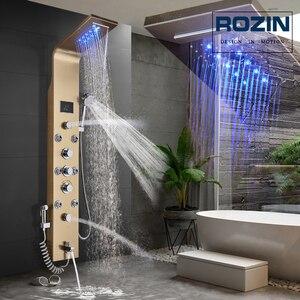 Image 1 - Złoty Panel prysznicowy wodospad deszczownica kolumna ścienna LED Light łazienka System prysznicowy obrotowy strumień masujący rączka bidetowa