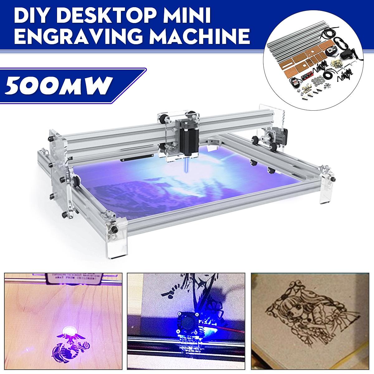 40X50 см 500 МВт DIY рабочего Мини синий лазерная гравировка гравер машинный деревянный роутер/резак/принтер/мощность Регулируемый лазерный
