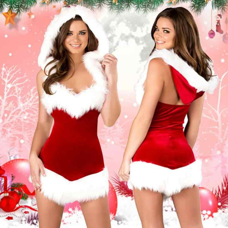 34d86ec88fdd0 NEW 2019 Europe and America Women With Hood Santa V neck Sleeveles Costume  Party Sexy Christmas