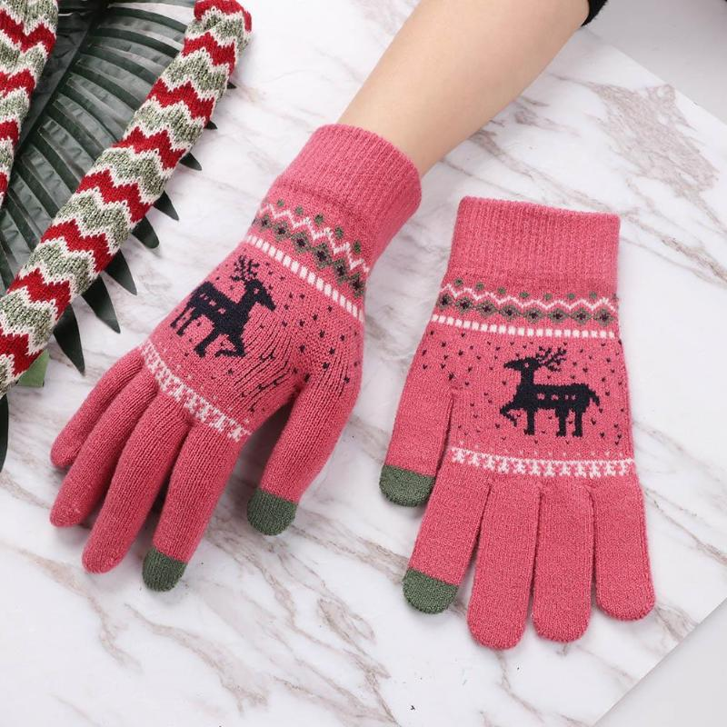 Christmas Magic Winter Warm Women Knitted Gloves Touch Screen Smartphone Wool Cashmere Gloves One Size Autumn Adult Girl Gloves