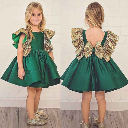Christmas Toddle Kids Baby Girl Sequins Bowknot  Ruffle Dress Wedding Party Princess Dresses Cute  Kids Clothes 1-6Y