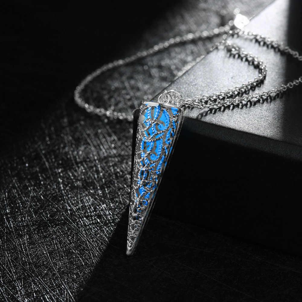 発光石蛍光六角柱ネックレス天然水晶グローイングでダーク弾丸ストーンペンダントネックレス