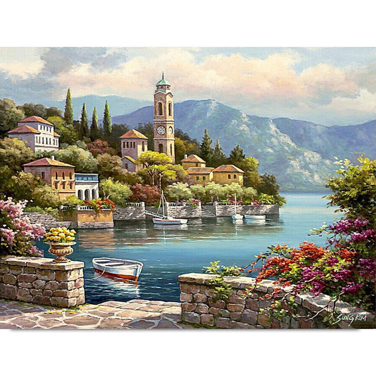 Newest 50*40cm DIY Paint By Number Kit Digital Oil Painting Canvas Romantic HarbourNewest 50*40cm DIY Paint By Number Kit Digital Oil Painting Canvas Romantic Harbour