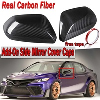 New For Toyota Camry LE SE XLE XSE 2018 Pair Real Carbon Fiber Add On Car Side View Rearview Mirror Cover Caps Trim Sticker Fits