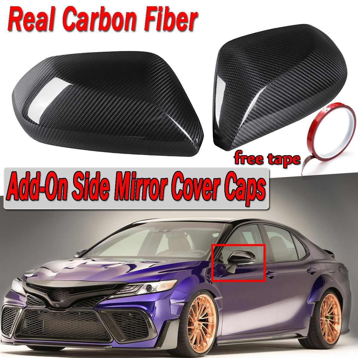 Nouveau pour Toyota Camry LE SE XLE XSE 2018 paire vraie Fiber de carbone ajouter voiture vue latérale rétroviseur couverture casquettes garniture autocollant s'adapte