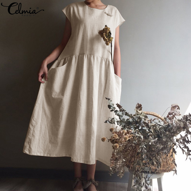 c952aae5b04f3c8 Женское длинное платье в стиле ретро, лето 2019, большие размеры, пляжный  сарафан, Повседневная рубашка с короткими рукавами, vestidos mujer, большие  .
