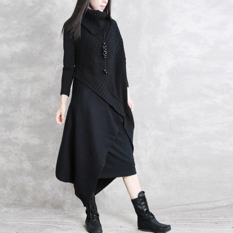 pièce Lanmrem Pathchwork Basant Deux grey Yg194 Femme burgundy Knit Vêtements Robe Black Col Laine Noir Roulé Ensemble Rétro Bourgogne Gris De TKlc1J5uF3