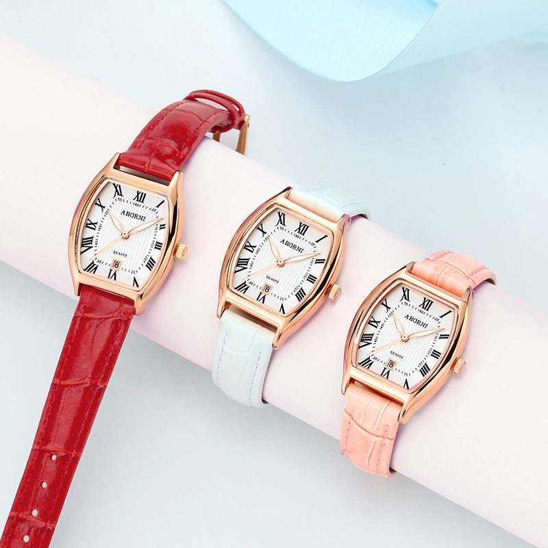 Red Fashion Ladies Quartz Dress Wrist Watch Relogio Feminino Leather Rosefield Watches Casual Office Clock Ins Dropship Saat