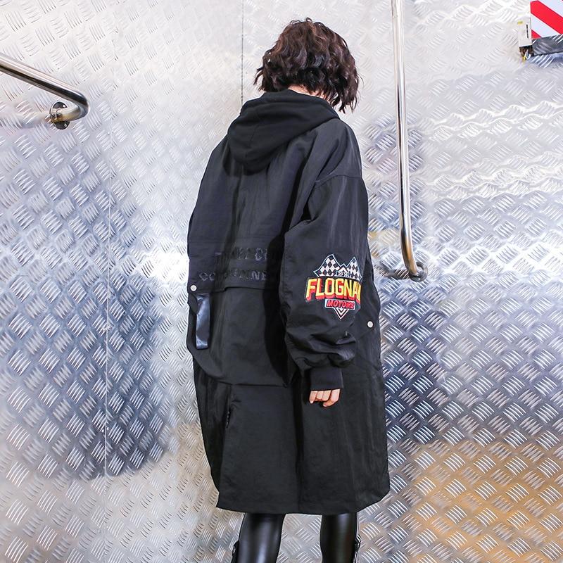 Hop Streetwear vent Femmes Surdimensionné Manteau Long Hip Tranchée Harajuku Marée Capuchon Cardigan Automne Noir Lâche Coupe À 5545 0zg1q1