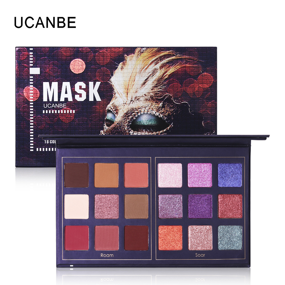 UCANBE New 18 Color Eyeshadow Palette Wine Red Fly Green Mask Eye Shadow Shimmer Matte Eye Shadow Makeup Nude Eyeshadow Palette stylish plastic eye mask color assorted