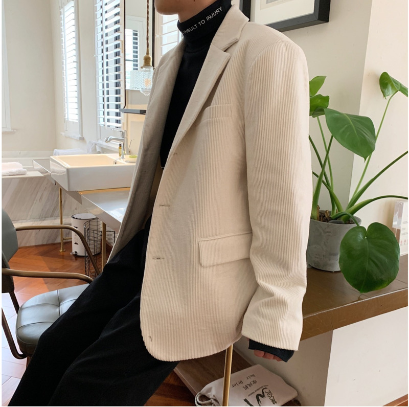 Men's Suit 19 Spring New Solid Color Lapel Small Suit Jacket Casual Suit Loose Wild Business Casual Youth Casual Men's Clothing