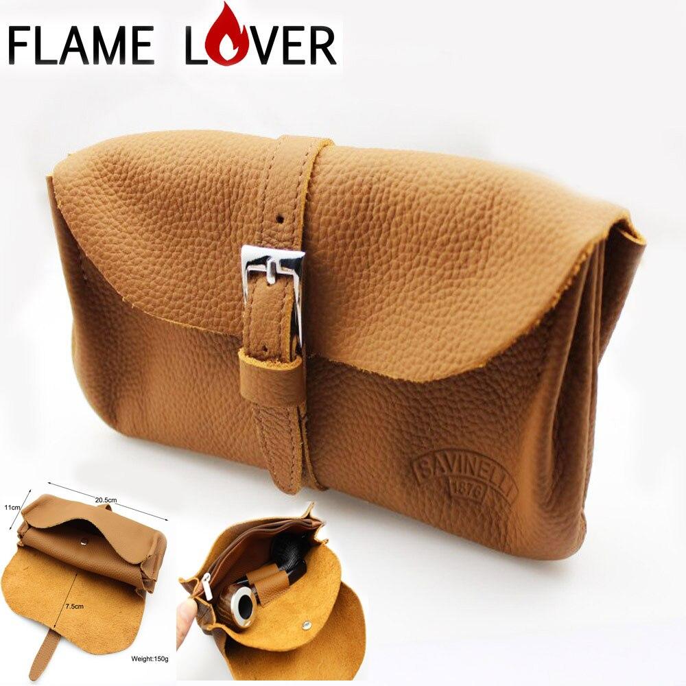 Soft Nature solide 100% en cuir véritable sac à main sac à main Portable voyage bois tabac fumer Pipe Case/pochette outil de fumer accessoires