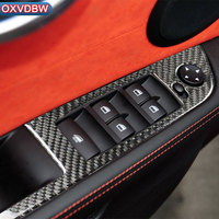 Car Interior Carbon Fiber Window Lifter Control Frame Stickers Window Switch Decor Armrest Panel Cover For BMW Z4 E89 accessory