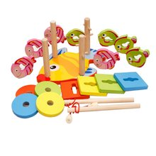 Wooden Magnetic Fishing Game Geometric Blocks Sorting Stacking Game Hand-eye Coordination Educational Toys for Children Kids