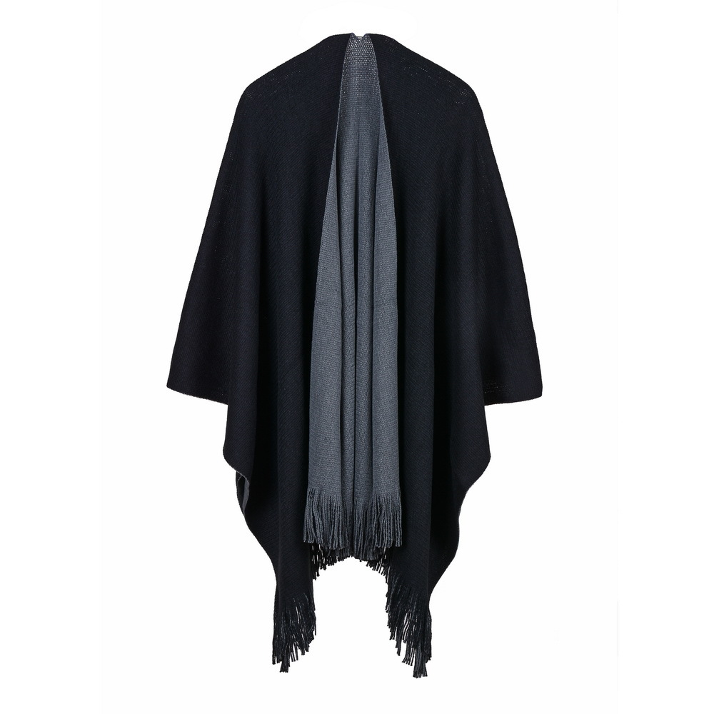 Autumn And Winter Fanjia Thick Simple Baitao AB Double-sided Open-forked Large Shawl Knitted Shirt Cloak Warp Knitted Woman