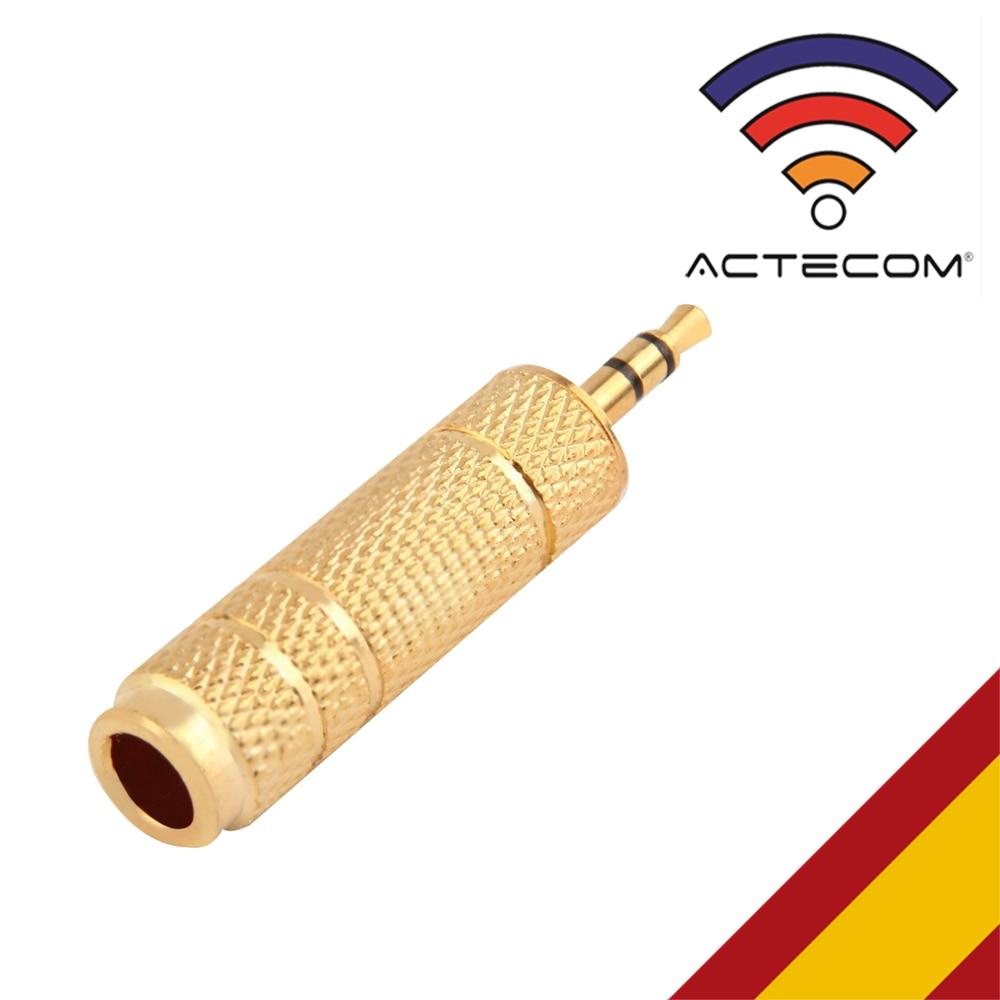 ACTECOM Adaptador Jack 6,3 A 3,5 MINIJACK Chapado Oro Estereo METALICO Conector