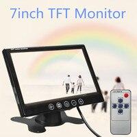 7 inch TFT LCD Car Monitor Rearview Screen HDMI VGA DVD Digital Display HD Resolution Parking Backup Camera +Remote Control